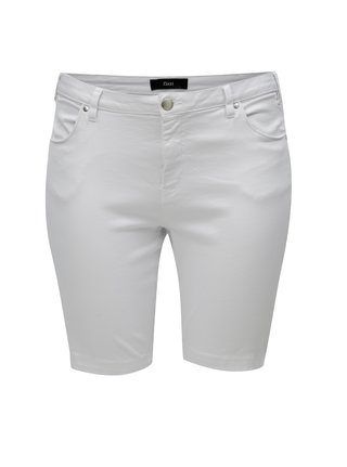 Pantaloni scurti albi slim din denim Zizzi