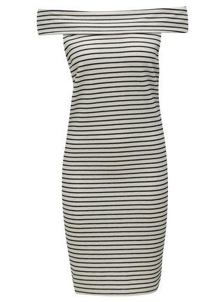 Černo-krémové pruhované šaty s odhalenými rameny VILA Cone 299b46446a