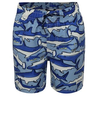 Modré chlapčenské plavky s motívom žralokov Tom Joule
