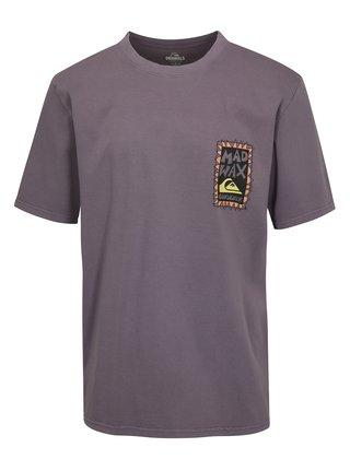 Svetlofialové pánske fit tričko s potlačou na chrbte Quiksilver