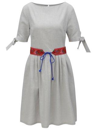 Světle šedé lněné šaty Bohemian Tailors Fermina