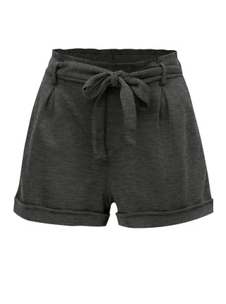 Pantaloni scurti alb-negru cu snur in talie TALLY WEiJL