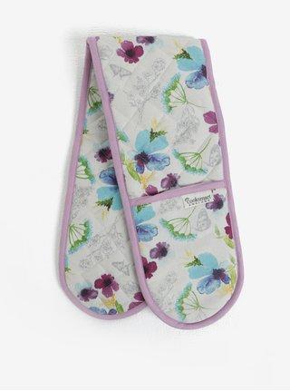 Manusi de bucatarie alb-mov cu motiv floral Cooksmart