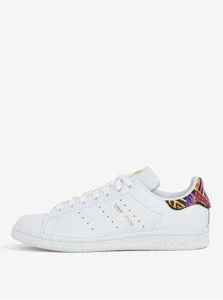 Biele dámske kožené tenisky s vyšitým detailom adidas Originals Stan Smith
