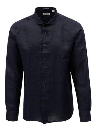Tmavě modrá lněná košile Dstrezzed