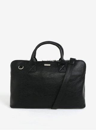 Čierna koženková taška cez rameno Bobby Black
