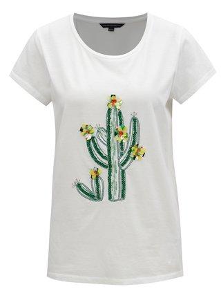 Tricou alb cu paiete French Connection Cactus