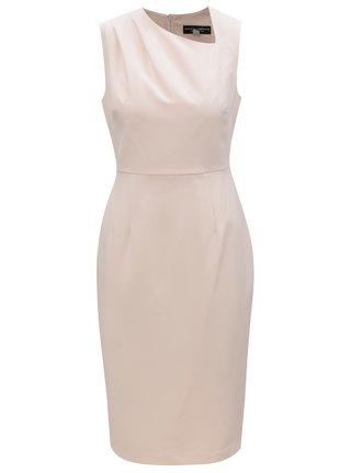 Světle růžové pouzdrové šaty s asymetrickým výstřihem Dorothy Perkins