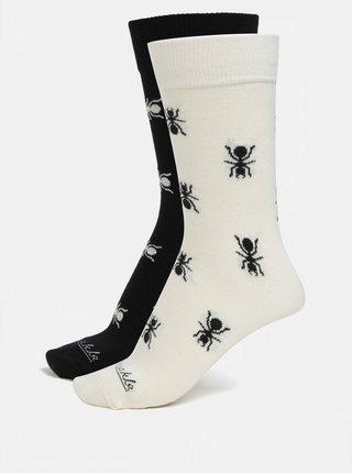 Krémovo-čierne unisex ponožky s motívom mravcov Fusakle Mravenisko