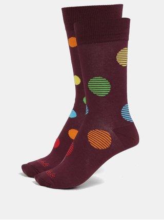 Vínové unisex bodkované ponožky Fusakle Retráš letný