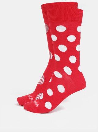 Bielo-červené unisex bodkované ponožky Fusakle Červenostraník