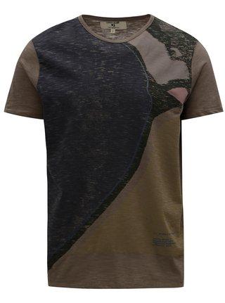 Hnědé pánské tričko s krátkým rukávem Garcia Jeans