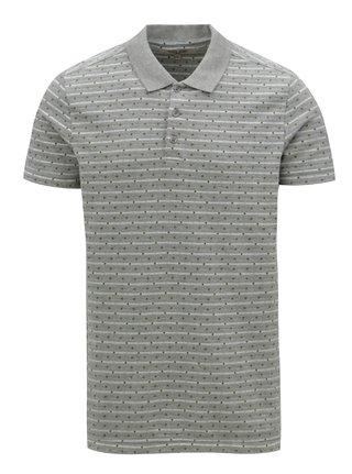 Šedé vzorované pánské polo tričko Garcia Jeans