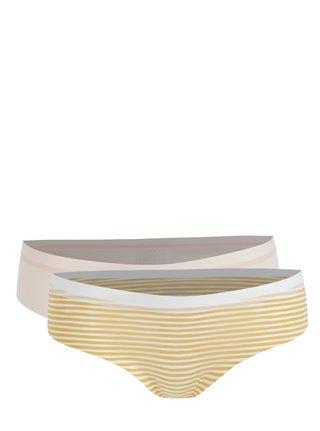 Súprava dvoch nohavičiek bez švov ružovej a žltej farby ICÔNE Etoile
