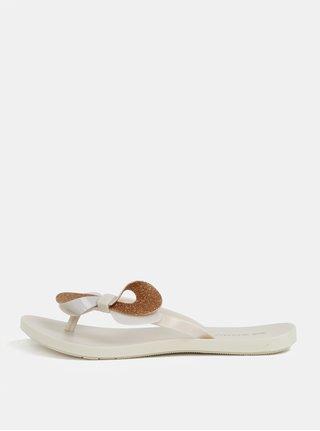Papuci flip-flop crem cu funda aurie Zaxy Fresh Trip