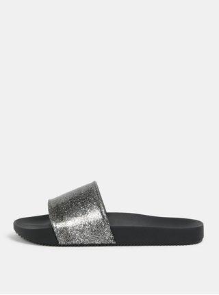 Papuci argintiu si negru cu efect stralucitor Zaxy Snap Glitter Slide