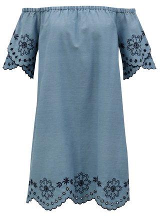 Světle modré šaty s odhalenými rameny a výšivkou Dorothy Perkins