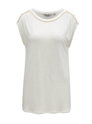 Bílé dámské tričko s pruhem ve zlaté barvě Garcia Jeans