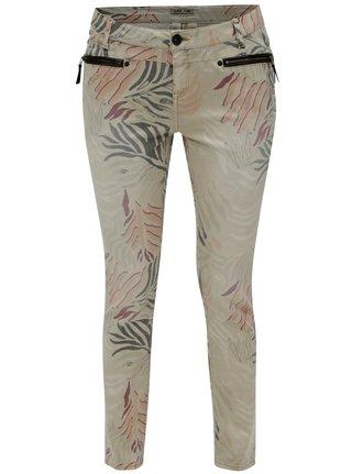 Béžové dámske skrátené slim fit rifle s nízkym pásom Garcia Jeans