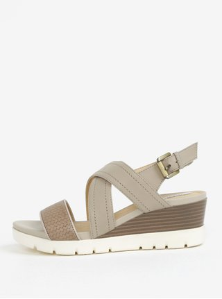 Krémové kožené dámské sandály na klínku Geox Marykarmen