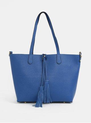Geanta shopper albastra din piele naturala cu portofel 2in1 ZOOT