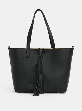 Geanta shopper neagra din piele naturala cu portofel 2in1 ZOOT