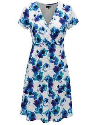 Bielo-modré kvetované šaty s prekladaným výstrihom Smashed Lemon