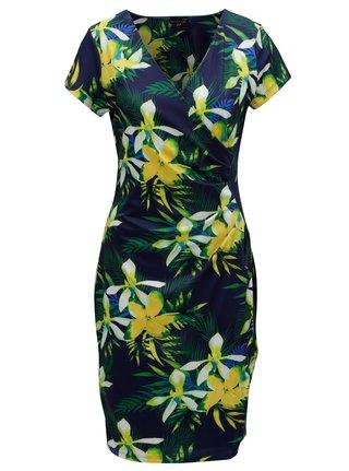 Zeleno-modré šaty s prekladaným výstrihom Smashed Lemon