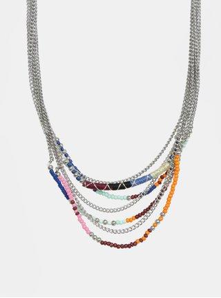 Colier argintiu cu margele colorate - Pieces Dora