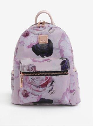 Růžový květovaný batoh s koženými detaily Liberty by Gionni Fleur