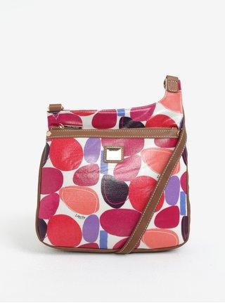 Krémová vzorovaná crossbody kabelka s koženými detailmi Liberty by Gionni Paulina