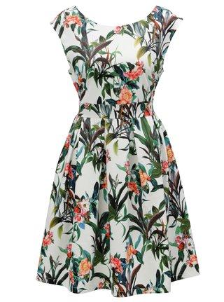 Zeleno-biele kvetované áčkové šaty Smashed Lemon