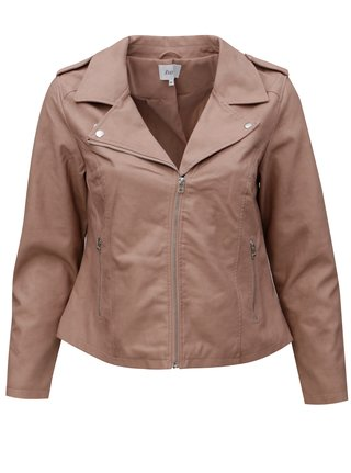 Jacheta biker de dama roz prafuit din piele sintetica Zizzi