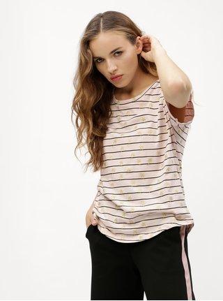 Svetloružové pruhované tričko VERO MODA Helmer