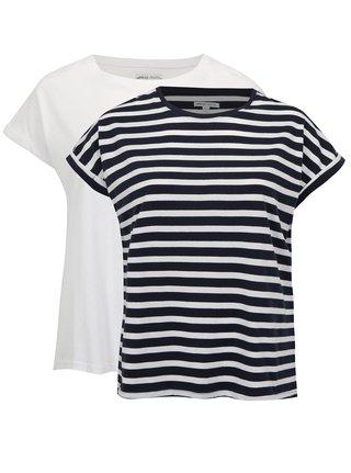 Set de 2 tricouri alb si albastru simply be.