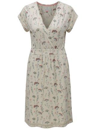 Béžové kvetované šaty s prekladaným výstrihom Brakeburn