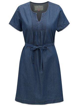 Modré rifľové šaty so zaväzovaním v páse Brakeburn