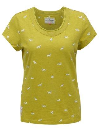 Svetlozelené tričko s potlačou psíkov Brakeburn