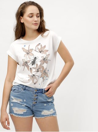 Tricou alb cu model translucid Desigual Always for you