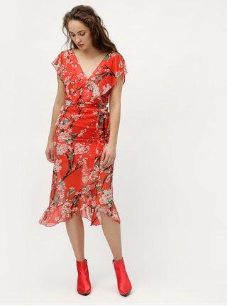 Červené květované midišaty MISSGUIDED