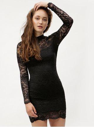 Čierne čipkované puzdrové šaty s dlhým rukávom MISSGUIDED