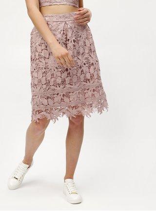 Starorůžová krajková sukně MISSGUIDED