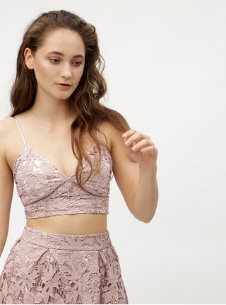 Top crop roz prafuit din dantela MISSGUIDED