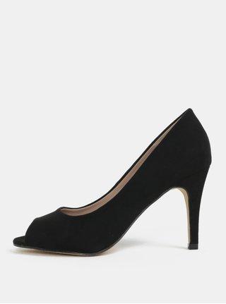 Pantofi negri cu aspect de piele intoarsa si decupaj pe varf Dorothy Perkins