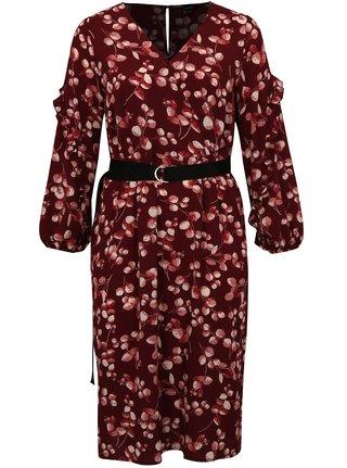Vínové kvetované šaty s opaskom simply be.