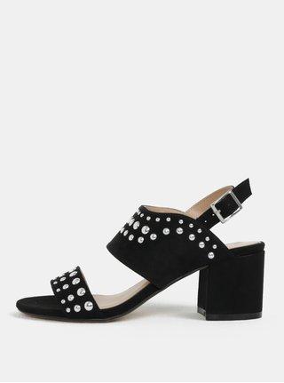 Sandale negre cu aspect de piele intoarsa cu toc Dorothy Perkins