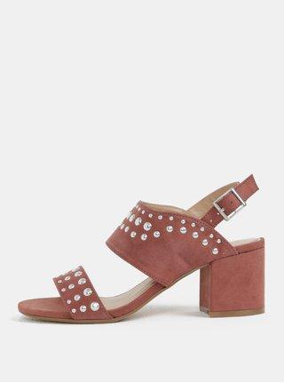 Sandale roz prafuit cu aspect de piele intoarsa cu toc Dorothy Perkins