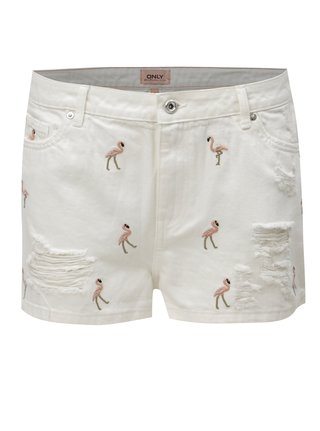 Pantaloni scurti albi din denim cu broderie ONLY Flamingo