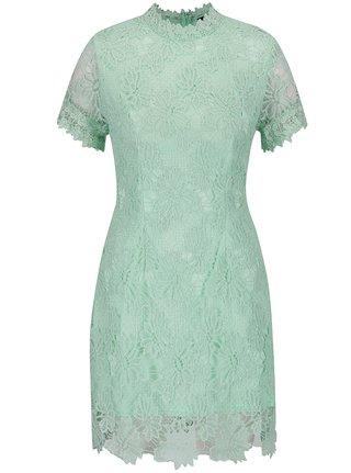 Svetlozelené čipkované šaty s krátkym rukávom AX Paris