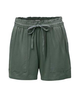 Pantaloni scurti verde-gri lejeri cu talie inalta Jacqueline de Yong Capella